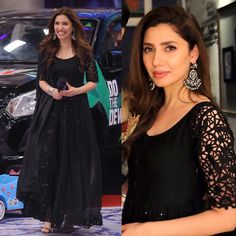 Taking inspiration from latest for our Eid look. Black Pakistani Dress, Simple Pakistani Dresses, Pakistani Fashion Casual, Pakistani Dress Design, Indian Fashion, Churidar Designs, Kurta Designs Women, Dress Indian Style, Indian Dresses
