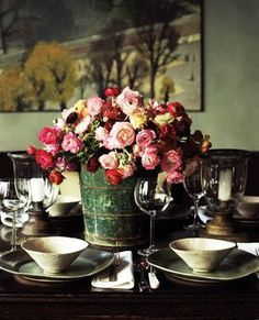 I think this w/b so pretty for a home wedding~mk~Christmas romance poetic wanderlust- big buckets of flowers.this works for any holiday! Table Arrangements, Floral Arrangements, Flower Arrangement, Red Flowers, Beautiful Flowers, Beautiful Things, Rustic Flowers, Beautiful Table Settings, Tall Vases