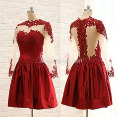 Buy Simple-dress Elegant Cowl Long Sleeves Short Dark Red 2015 Homecoming Dresses/Party Dresses SAHD-70784 Special Occasion Dresses under $148.99 only in SimpleDress.