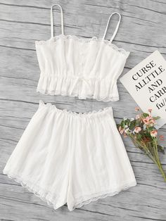 Shop Scallop Lace Trim Cami Pajama Set online. SheIn offers Scallop Lace Trim Cami Pajama Set & more to fit your fashionable needs.