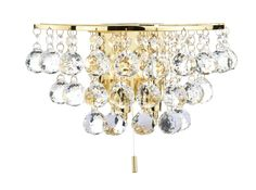 Pluto 2 Light Wall Light in Polished Brass & Crystal Crystal Glass Decoration Fully Assembled Switched with pull cord switch double Insulated 2 x Lamps included Height Width Depth Lighting Bugs, Wall Wash Lighting, Wall Lights, Ceiling Lights, Interior Lighting, Home Lighting, Modern Lighting, Wall Brackets, Polished Brass