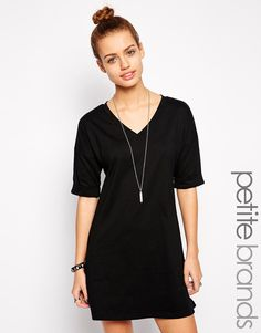 Glamorous+Petite+Plain+T-Shirt+Dress+With+Kimono+Sleeve