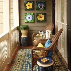 Such a small space but wow what they did to maximize it. love the colors Like the flower pictures!!!