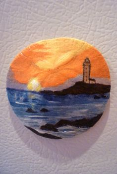 Lighthouse Sunset Sea Scape Sand Dollar Ornament by TaMuidBeo