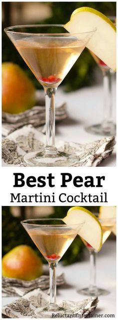 This Pear Martini Cocktail Recipe Reluctant Entertainer is a good for your Breakfast made with wholesome ingredients! Fruity Cocktails, Cocktail Drinks, Fun Drinks, Yummy Drinks, Keto Cocktails, Liquor Drinks, Cocktail Ideas, Bourbon Drinks, Craft Cocktails