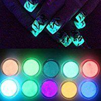 NICOLE DIARY 10 Neon Colors Phosphorescent Luminescent Fluorescent Powder Glow In Dark NailDecorations Nail Art Acrylic Use DIY Kit
