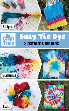 How to tie dye with kids – make these three simple tie dye patterns with our step by step tutorial with photos. Tie Dying is a fun and easy Summer craft kids can do at home! #fabricart #kidscrafts #kidsactivities #tiedye #fabricart #summercrafts #thecrafttrain Tie Dye Tips, How To Tie Dye, Tie And Dye, Simple Tie Dye Patterns, Easy Patterns, Diy Tie Dye Designs, Tie Dye Tutorial, Ty Dye, Tie Dying Techniques