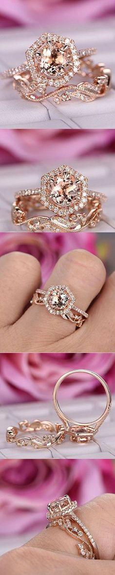 Engagement Rings Round Morganite Engagement Ring Set Pave Diamond Wedding Hexagon Halo 14K Rose Gold 7mm