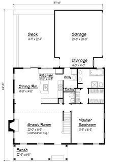 Country Southern First Level of Plan 41003 Perfect house. Without the garage.