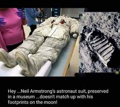 It's Buzz Aldrin's footprint, the man who was with Neil Armstrong. Look on Snopes for the story.>>>The comments are hilarious btw! Terre Plate, Conspericy Theories, Nasa Lies, Out Of Touch, Question Everything, Bizarre, Wtf Fun Facts, Awesome Facts, Creepy Facts