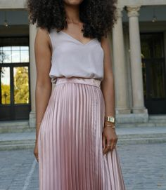 Outfit: Metallic Pleated Midi Skirt and Cami Top, casio watch