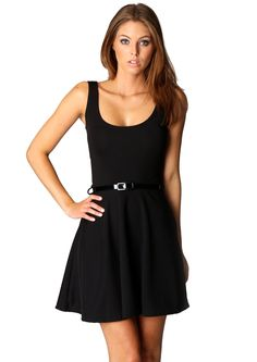 Vestido plisado cuello redondo sin mangas-negro 13.80