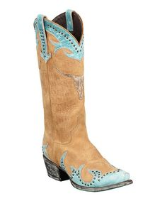 Brown & Turquoise Steer It Up Cowboy Boot - Women by Lane Boots #zulily #zulilyfinds