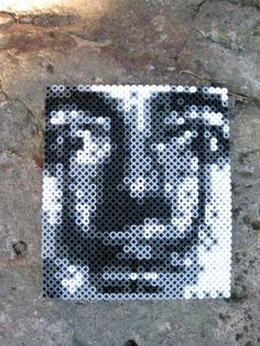 Dali portrait perler beads by  octopus_mountain That's what I could do with all the kids hamma beads they never use!