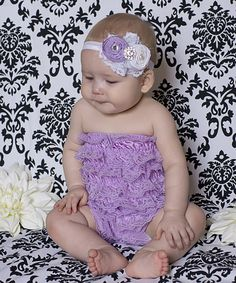Look at this #zulilyfind! Lavender Ruffle Lace Romper & Rosette Headband by Ella's Bows #zulilyfinds