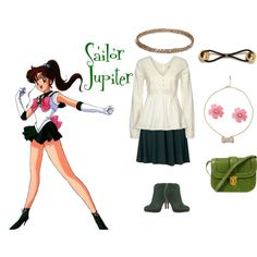 """""""Sailor Jupiter"""" by kirstylumos on Polyvore. Sailor Moon inspired outfit."""