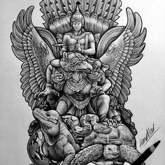 Custom order kaos by Tattoo Arm Designs, Dragon Tattoo Designs, Ganesha Art, Krishna Art, Body Art Tattoos, Sleeve Tattoos, Kali Tattoo, Laos, Armband Tattoos For Men