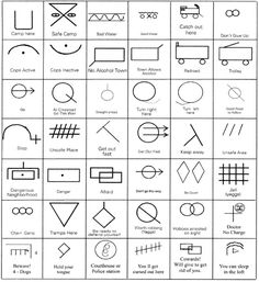 """hobo-glyphs-code """"The pictographic Hobo Code is a fascinating system of symbols understood among the hobo community."""" Be ready to defend yourself // Hold your tongue tattoo Hobo Symbols, Wiccan Symbols, Mayan Symbols, Viking Symbols, Egyptian Symbols, Viking Runes, Ancient Symbols, Ancient Scripts, Tribal Symbols"""