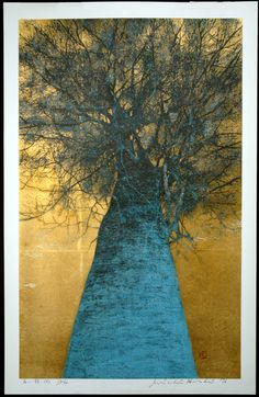 Artist Name: HOSHI Joichi (1913-1979)  Title: High Treetop (A)-sold  Japanese Title: takai kozue (A)  Year: 1976  Medium: original woodblock print with leaf on paper  Signature & Seals: Signed, numbered, dated and titled in pencil, with red seal within image  Edition: 15/99  Dimensions: 29x19 inch paper. Conservation framed with silk fabric mat and gold moulding to 39x27 inch size  Condition: pristine  Notes: This is one of Hoshi's finest images, with a unique…