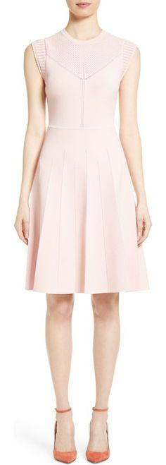 knit fit & flare dress by Lela Rose. Delicate pointelle stitching and scalloped edges further soften the look of a blushed Italian-knit dress in a universally flattering A-line silhouette.  #lelarose #dresses