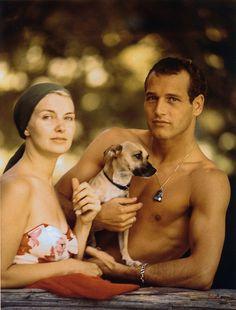 Paul Newman.. Love a guy with a little dog :D