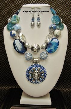 BLUE CHUNKY WESTERN Gemstones Statement Cowgirl Necklace  - WOW! #HandmadeCAYASCOWGIRLCREATIONS #Statement