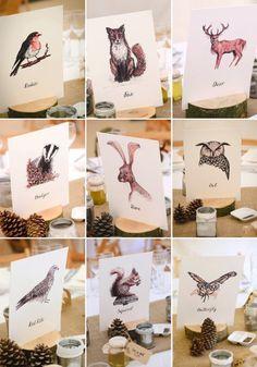 illustrated woodland animal table names