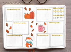 This group of gorgeous autumn themed bullet journal pages includes spreads, calendar, and weekly Autumn Bullet Journal, Bullet Journal Halloween, Bullet Journal October, How To Bullet Journal, Bullet Journal Monthly Spread, Bullet Journal Writing, Bullet Journal Ideas Pages, Bullet Journal Layout, Bullet Journal Inspiration