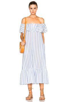 Image 1 of Lisa Marie Fernandez Mira Flounce Dress in White & Blue