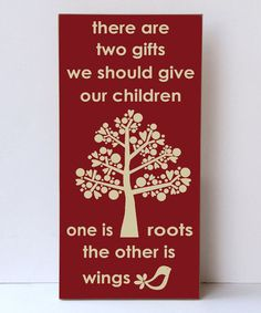 Loving this Red & Cream Tree Roots & Wings Wall Sign on #zulily! #zulilyfinds