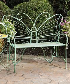Look what I found on #zulily! Butterfly Metal Bench #zulilyfinds