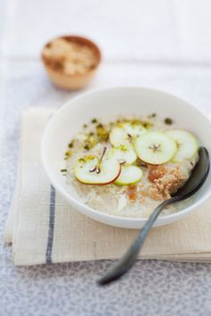 Coconut Rice Pudding with Lady Apples