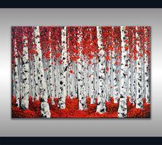 """ORIGINAL Art Modern Red bouleau arbres peinture Aspen Forest texturée paysage Home Decor 36 x 24 """"Abstract couteau oeuvre, cadeau unique"""
