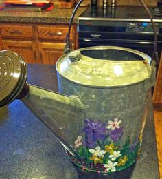 Spring Flowers, painted watering can