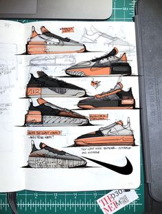 Collection of Nike footwear design concept sketches created by Nigel Langley between 2018 and Sneakers Sketch, Running Silhouette, Colors And Emotions, Shoe Sketches, Industrial Design Sketch, Sneaker Art, Design Language, Design Thinking, Graphic Design Illustration