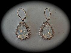 White Opal Teardrop Earrings  white opal crystal by TheCrystalRose, $45.00