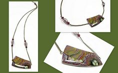 polymer clay Abstract Woodlands Necklace   Sherri J K   Flickr
