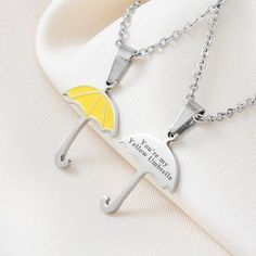 "Yellow Umbrella Necklace ""You're my Yellow Umbrella"" True Love Necklace Geekery Geek Jewelry Mother Gift How I Met Your Mother, Yellow Umbrella, Geek Jewelry, Jewlery, Himym, Cute Necklace, I Meet You, Mother Gifts, Beautiful Necklaces"