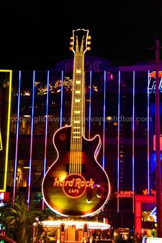 Hard Rock Cafe Photograph a photographic print of the Hard Rock Cafe neon guitar sign at night Las Vegas Nevada USA portrait photo color picture fine art print photography by Andy Evans Photos Hard Rock Hotel, Hard Rock Las Vegas, Last Vegas, Las Vegas Vacation, Vacation Trips, Really Cool Photos, El Rock And Roll, Rock Cafe, Las Vegas Photos