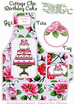 """Cottage Chic Birthday Cake Gift Tote and Tag Set on Craftsuprint designed by Eileen Mikolayunas - Using only Two Sheets of Cardstock, Scissors, and Glue, you can create this Tall 7.00"""" Handled Gift Tote and Matching Tag with a Lovely Happy Birthday Cake Theme. A Coordinating Tag is also included. This is a Very Roomy Gift Bag especially for Tall Gift Items. Crafting Directions are included with your download. Enjoy!  - Now available for download!"""