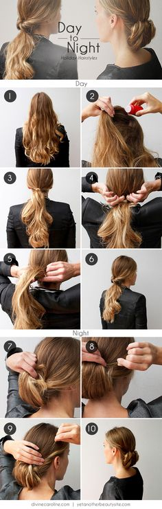 If you need to make a quick transition from a long day at work to an evening out with friends, family, or co-workers, this hairdo will become your go-to look! #hair #hairstyle #updo
