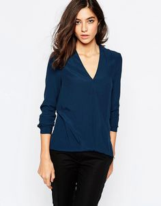Image 1 ofWarehouse Long Sleeve Wrap Front Top