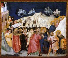 Pietro Lorenzetti - The Capture of Christ - WGA13507 - Cattura di Cristo (Pietro Lorenzetti) - Wikipedia. Пьетро Лоренцетти. Арест Христа. 1310-1319 Нижняя базилика Сан-Франческо, Ассизи.