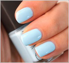 "NARS (Thakoon 2012 Spring Collection) Kutki Nail Lacquer --  'is described as a ""powder blue."" It's a pale, pastel sky blue–a little more muted than the perfect sky blue.'"