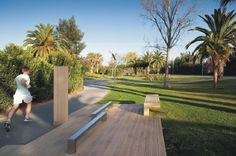 Underused median strip turned into circuit fitness route and recreational park in #Vilamoura | #Portugal. Click on the image to see the full project on www.shapedscape.com the NEW Platform for Landscape Architecture and related industries.