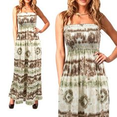 Sophisticated Strapless Maxi-Dress - Brown
