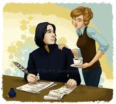 """After drawing this, I had this little dream the other night: when Severus Snape dies, his life sort of """"resets"""". In another life: wake up Snape And Lily, Snape And Hermione, Severus Snape, Hermione Granger, Harry Potter Ships, Harry Potter Fan Art, Harry Potter Movies, Harry Potter World, Costumes"""