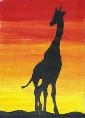 african art for kids - Google Search   Paint yellow stripe on bottom of paper.  Mix a little red with the yellow stripe to make an orange stripe.  Add a little more red each time making a stripe until you reach the top.  Add a cut out black silhouette of an animal or an African tree.