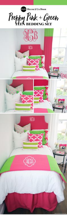"""Put some prep in your step with this seasons twist on preppy pink and green custom teen bedding. Our ever-popular preppy teen girl bedroom color combo of hot pink and lime green is perfect for every """"Lilly inspired"""" fashionista. Prep on, y'all! Dorm Room Headboards, Dorm Room Bedding, Bedding Sets, Bedding Decor, Preppy Dorm Room, Boho Dorm Room, Teen Girl Bedding, Teen Girl Bedrooms, Teen Bedroom"""