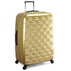 Gold Hard Sided Large Lips Spinner Case